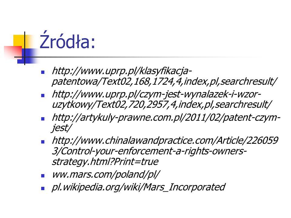 Źródła: http://www.uprp.pl/klasyfikacja-patentowa/Text02,168,1724,4,index,pl,searchresult/
