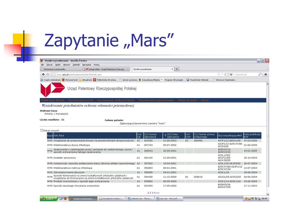 "Zapytanie ""Mars"