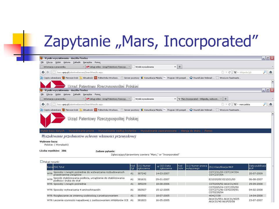 "Zapytanie ""Mars, Incorporated"