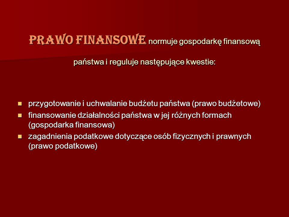 Prawo finansowe normuje gospodarkę finansową państwa i reguluje następujące kwestie: