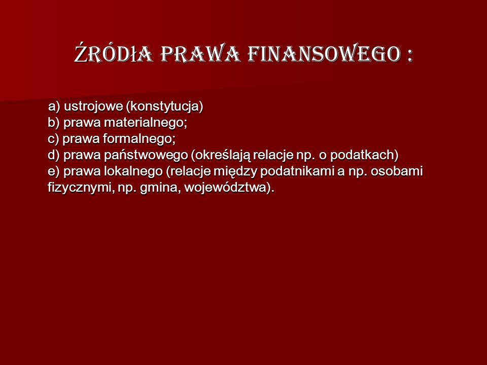 Źródła prawa finansowego :