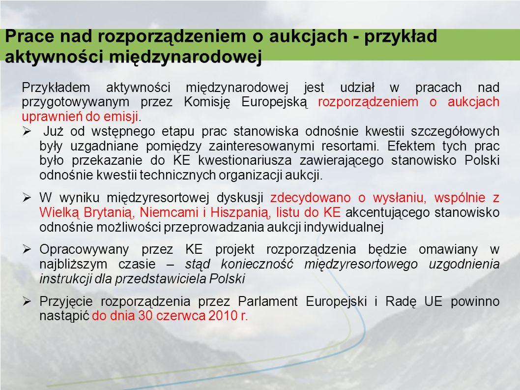 Prace nad rozporządzeniem o aukcjach - przykład aktywności międzynarodowej