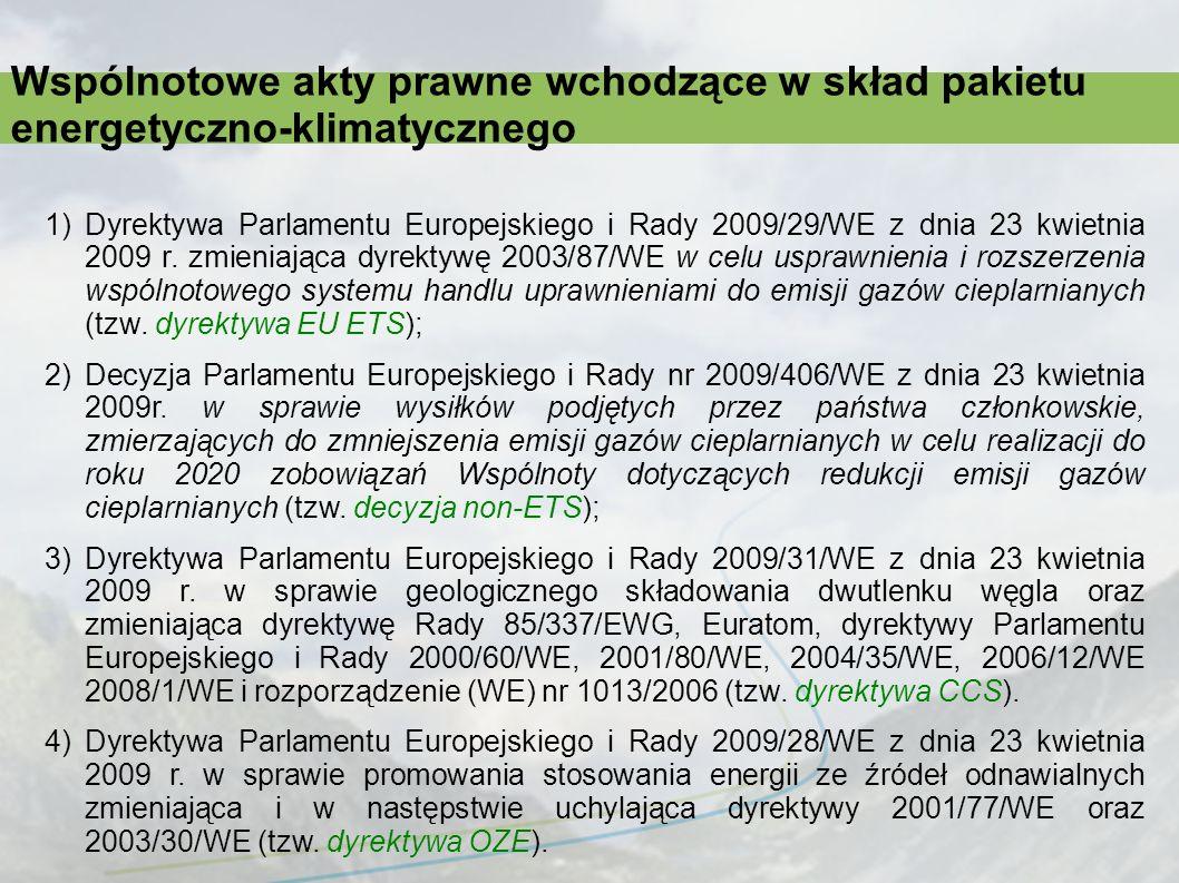 Wspólnotowe akty prawne wchodzące w skład pakietu energetyczno-klimatycznego