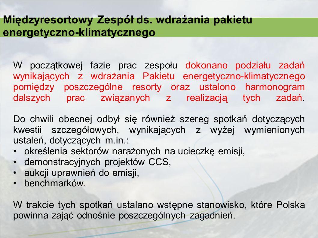 Międzyresortowy Zespół ds. wdrażania pakietu energetyczno-klimatycznego