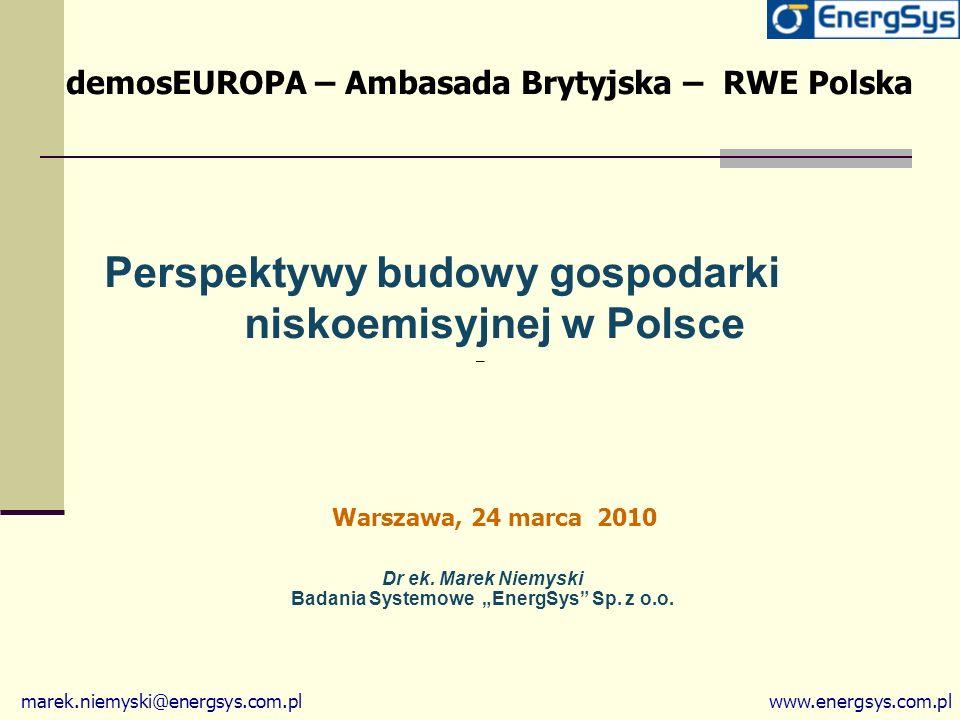 """Dr ek. Marek Niemyski Badania Systemowe """"EnergSys Sp. z o.o."""