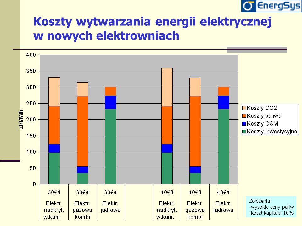 Koszty wytwarzania energii elektrycznej w nowych elektrowniach