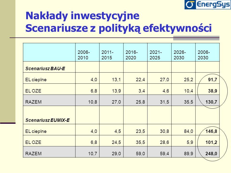 Nakłady inwestycyjne Scenariusze z polityką efektywności