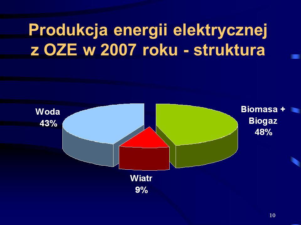 Produkcja energii elektrycznej z OZE w 2007 roku - struktura