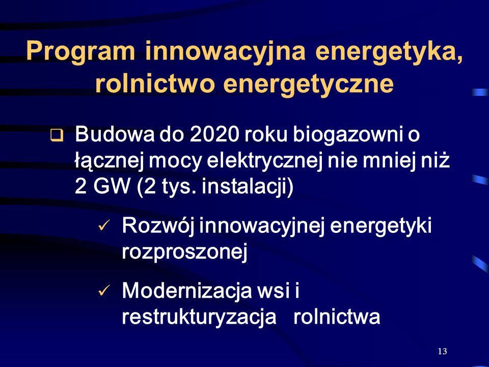 Program innowacyjna energetyka, rolnictwo energetyczne
