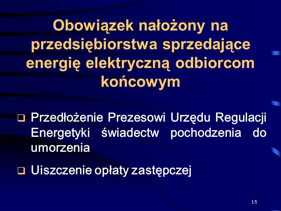 Obowiązek nałożony na przedsiębiorstwa sprzedające energię elektryczną odbiorcom końcowym