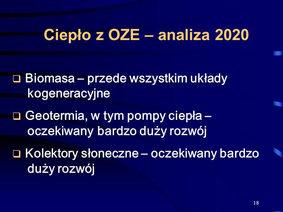 Ciepło z OZE – analiza 2020 Biomasa – przede wszystkim układy kogeneracyjne. Geotermia, w tym pompy ciepła – oczekiwany bardzo duży rozwój.