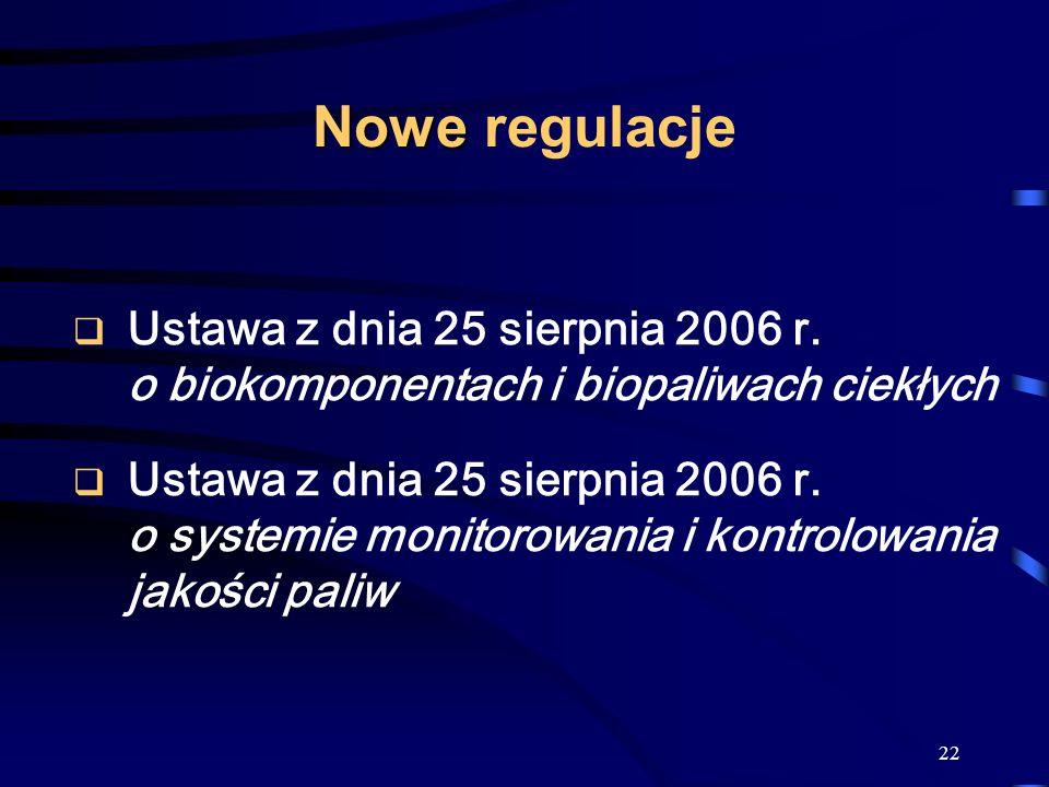 Nowe regulacje Ustawa z dnia 25 sierpnia 2006 r. o biokomponentach i biopaliwach ciekłych.