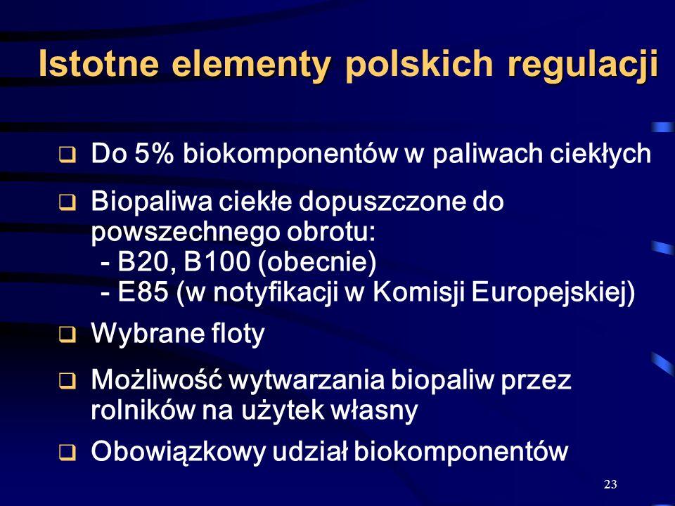 Istotne elementy polskich regulacji