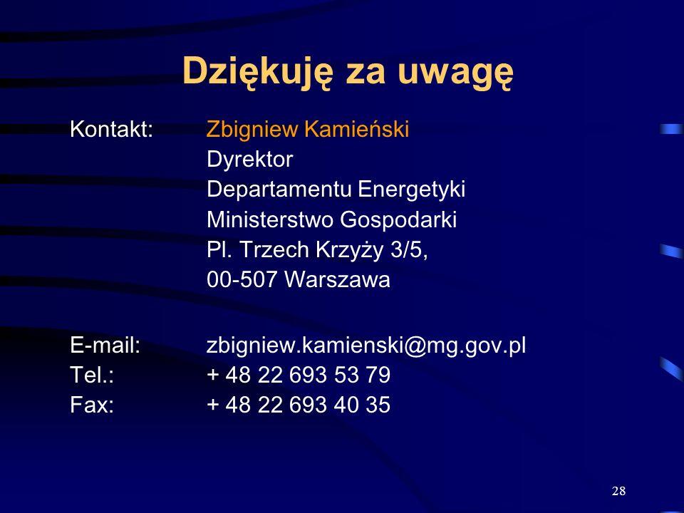 Dziękuję za uwagę Kontakt: Zbigniew Kamieński Dyrektor