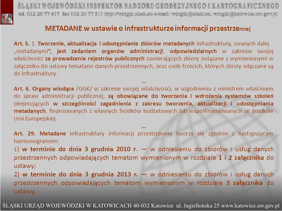 METADANE w ustawie o infrastrukturze informacji przestrzennej