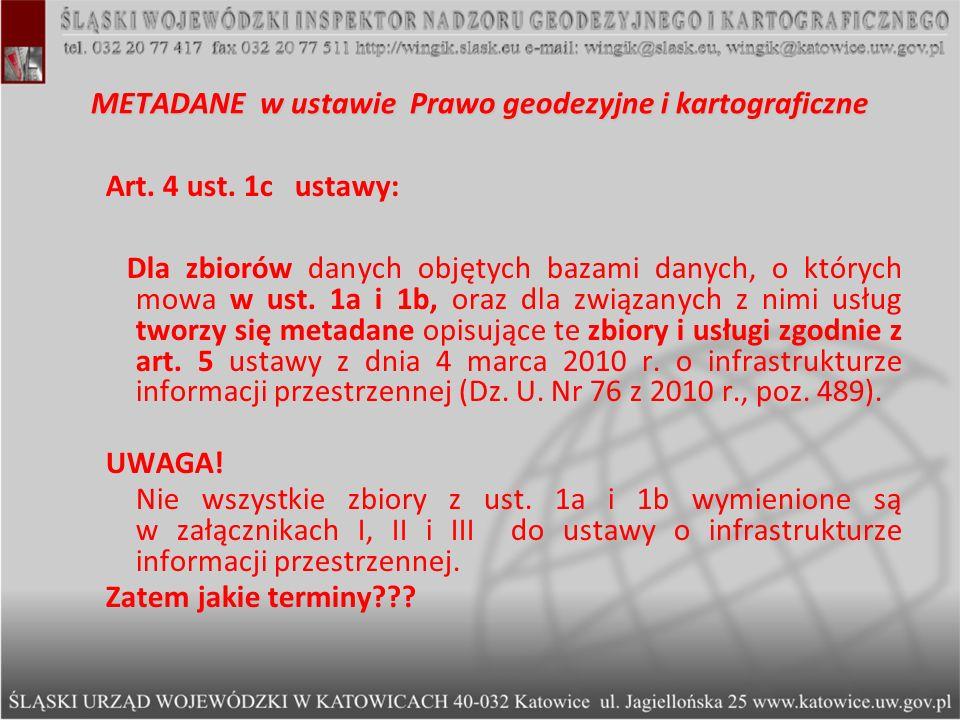 METADANE w ustawie Prawo geodezyjne i kartograficzne
