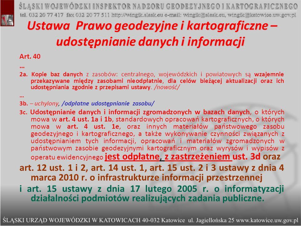 Ustawa Prawo geodezyjne i kartograficzne – udostępnianie danych i informacji