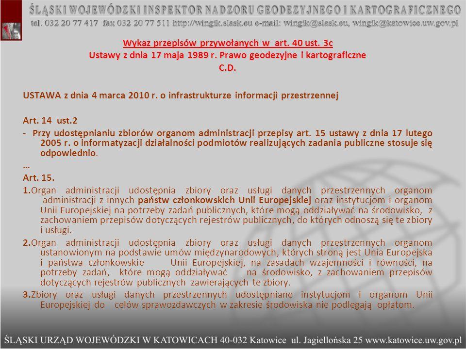 Wykaz przepisów przywołanych w art. 40 ust
