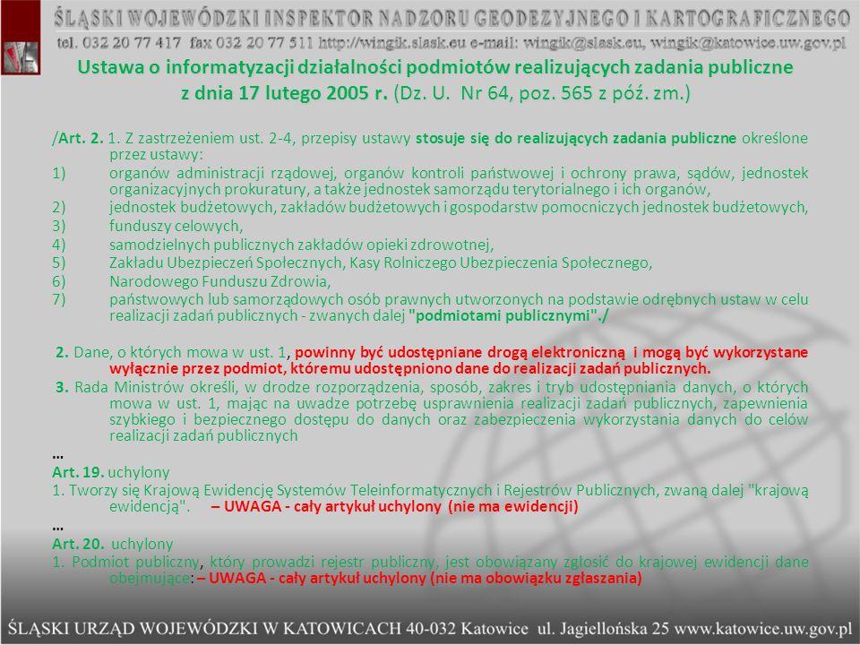 Ustawa o informatyzacji działalności podmiotów realizujących zadania publiczne z dnia 17 lutego 2005 r. (Dz. U. Nr 64, poz. 565 z póź. zm.)