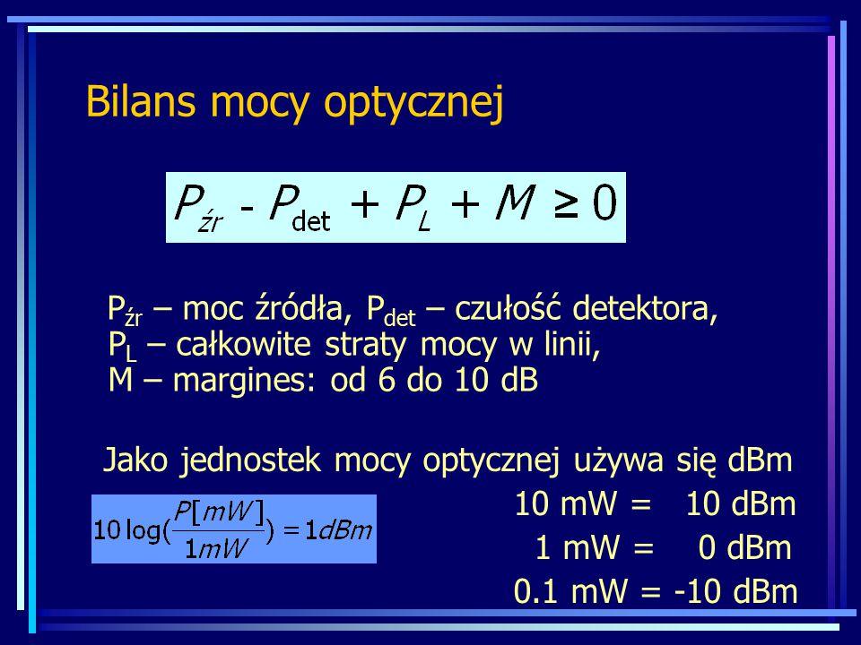 Bilans mocy optycznej Pźr – moc źródła, Pdet – czułość detektora, PL – całkowite straty mocy w linii, M – margines: od 6 do 10 dB.