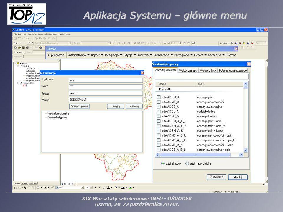 Aplikacja Systemu – główne menu