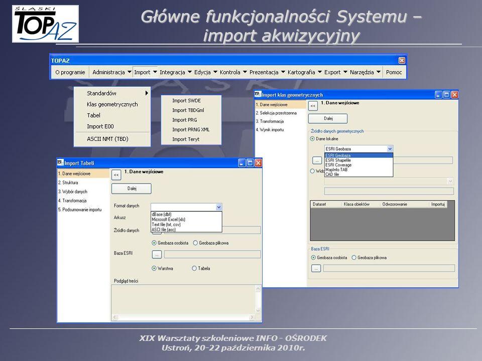 Główne funkcjonalności Systemu – import akwizycyjny