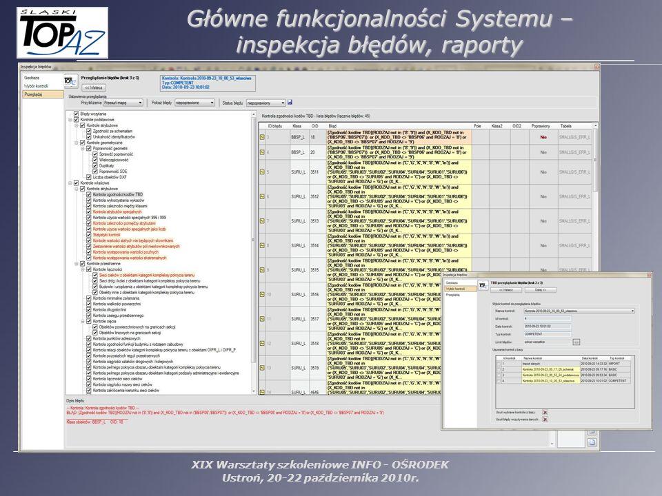 Główne funkcjonalności Systemu – inspekcja błędów, raporty
