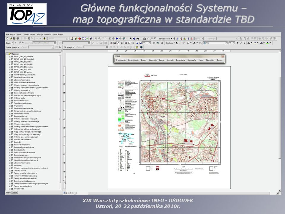 Główne funkcjonalności Systemu – map topograficzna w standardzie TBD