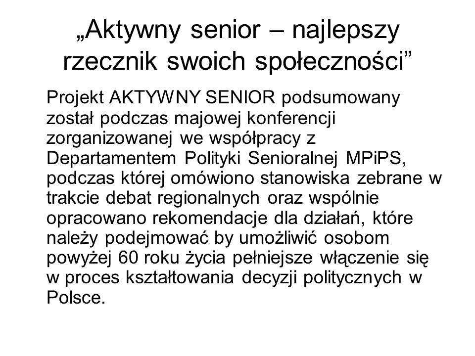 """""""Aktywny senior – najlepszy rzecznik swoich społeczności"""