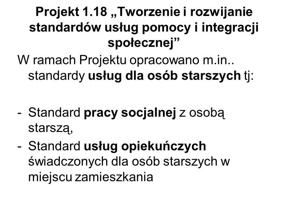 """Projekt 1.18 """"Tworzenie i rozwijanie standardów usług pomocy i integracji społecznej"""