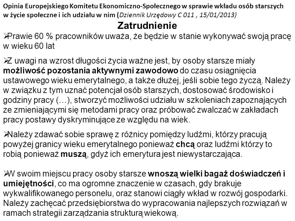 Opinia Europejskiego Komitetu Ekonomiczno-Społecznego w sprawie wkładu osób starszych w życie społeczne i ich udziału w nim (Dziennik Urzędowy C 011 , 15/01/2013)