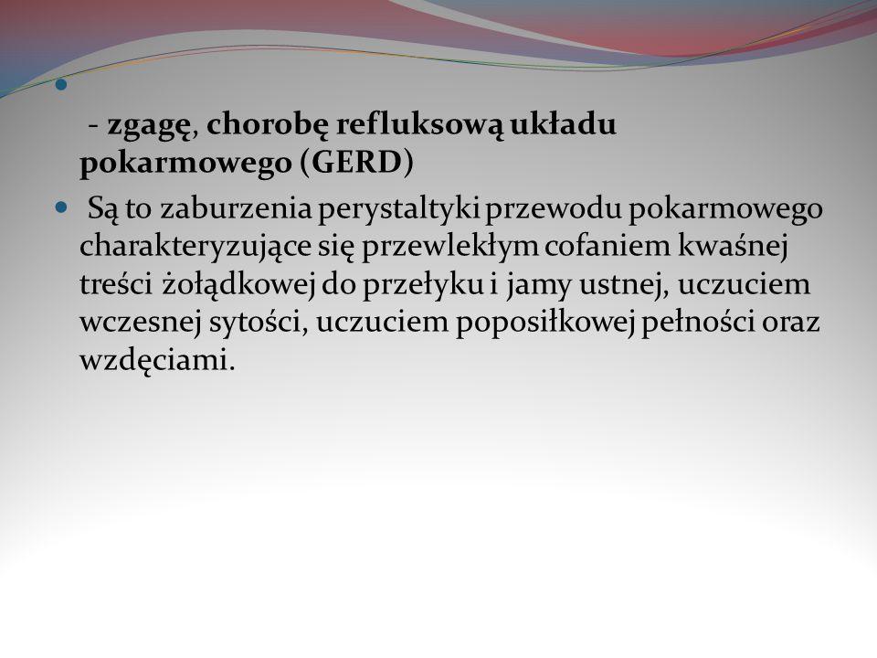 - zgagę, chorobę refluksową układu pokarmowego (GERD)