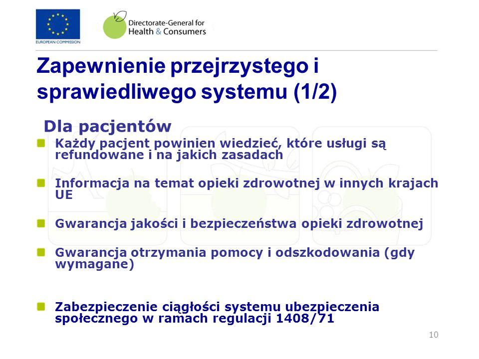 Zapewnienie przejrzystego i sprawiedliwego systemu (1/2)
