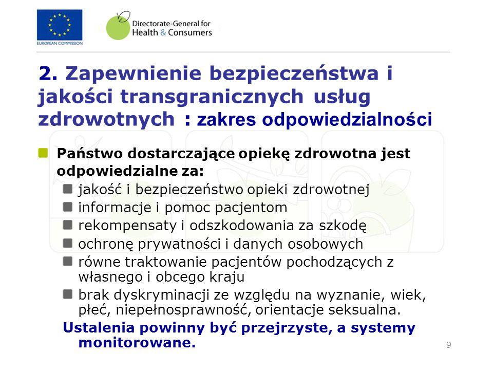 2. Zapewnienie bezpieczeństwa i jakości transgranicznych usług zdrowotnych : zakres odpowiedzialności