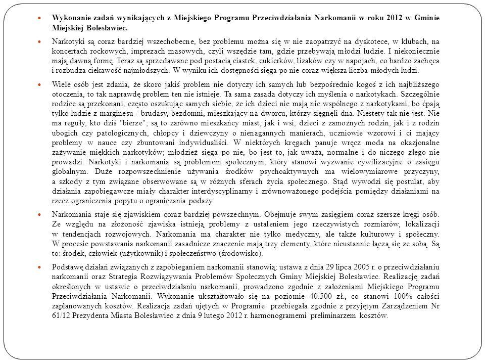 Wykonanie zadań wynikających z Miejskiego Programu Przeciwdziałania Narkomanii w roku 2012 w Gminie Miejskiej Bolesławiec.