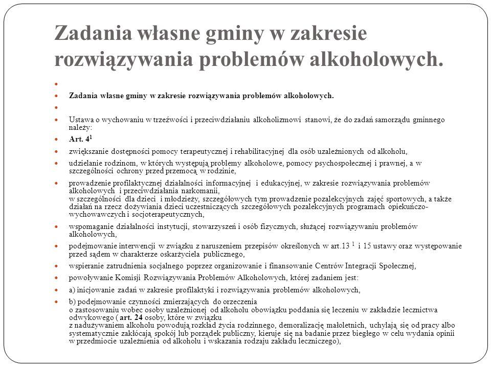 Zadania własne gminy w zakresie rozwiązywania problemów alkoholowych.