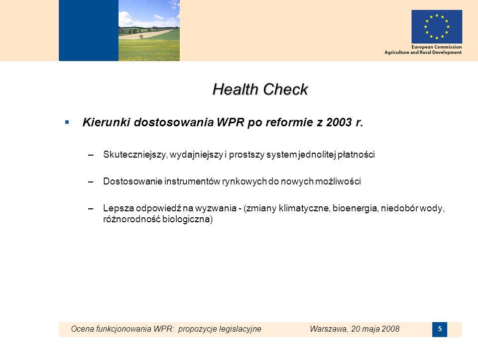 Health Check Kierunki dostosowania WPR po reformie z 2003 r.
