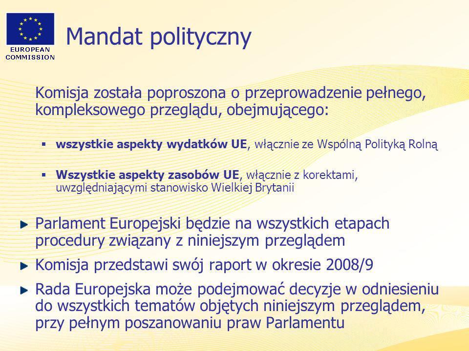 Mandat polityczny Komisja została poproszona o przeprowadzenie pełnego, kompleksowego przeglądu, obejmującego: