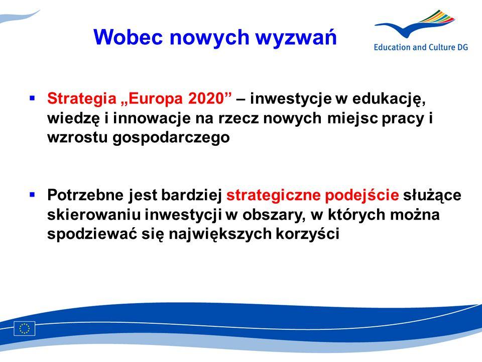 """Wobec nowych wyzwań Strategia """"Europa 2020 – inwestycje w edukację, wiedzę i innowacje na rzecz nowych miejsc pracy i wzrostu gospodarczego."""