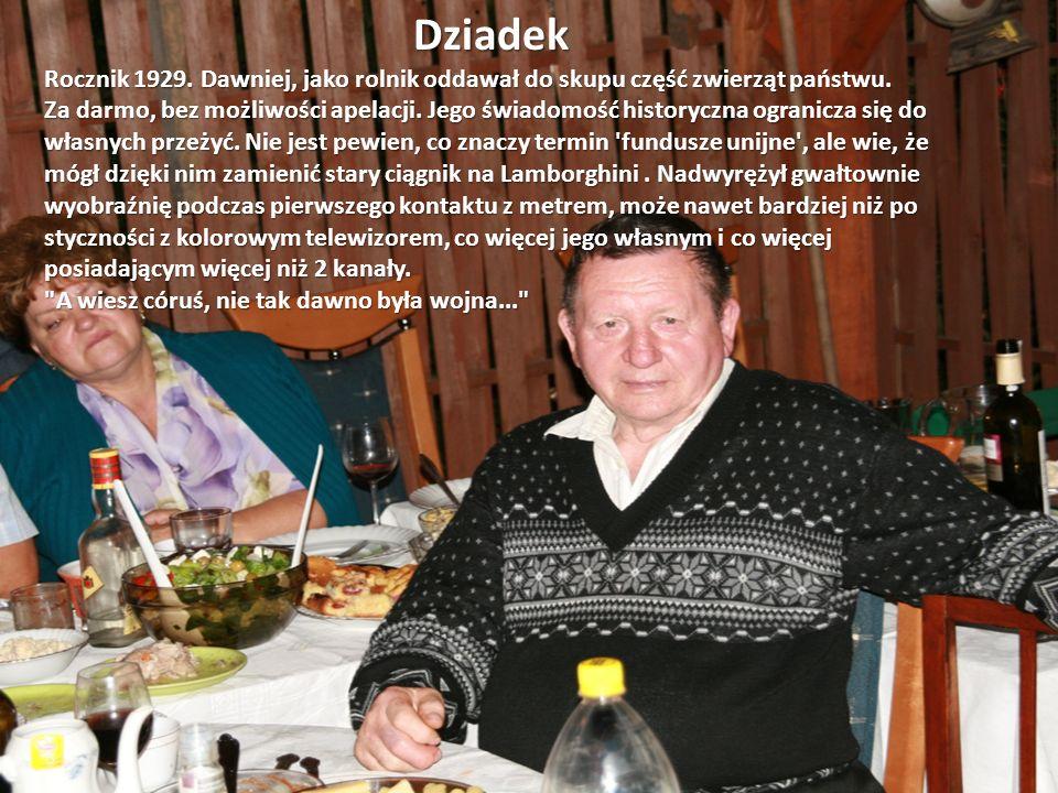 Dziadek Rocznik 1929. Dawniej, jako rolnik oddawał do skupu część zwierząt państwu.