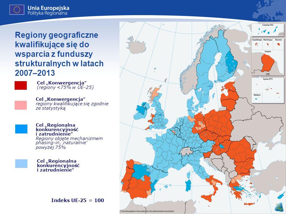 Regiony geograficzne kwalifikujące się do