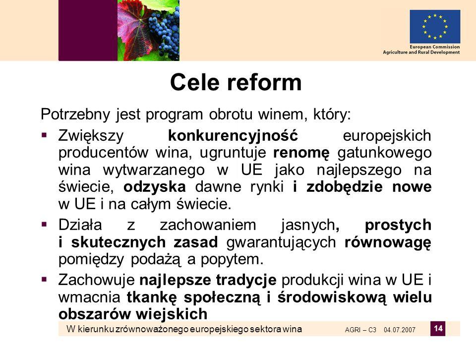 Cele reform Potrzebny jest program obrotu winem, który: