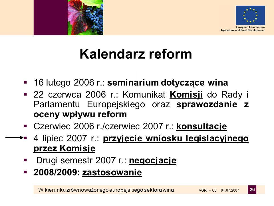 Kalendarz reform 16 lutego 2006 r.: seminarium dotyczące wina