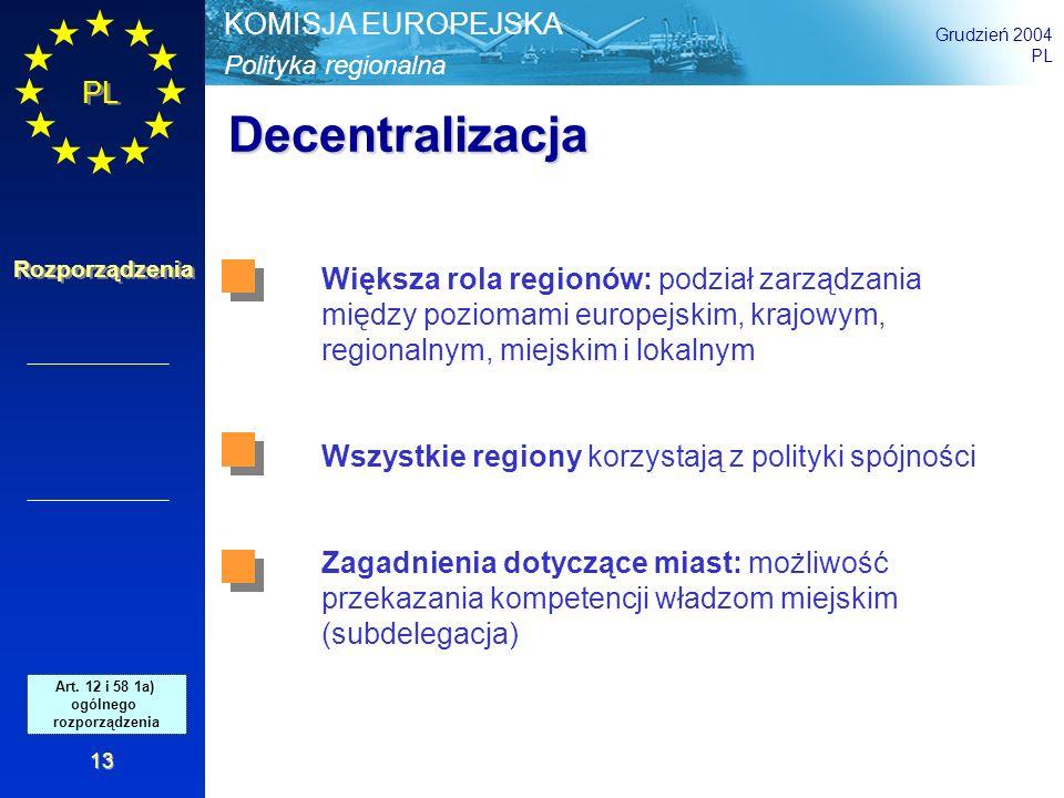 Decentralizacja Większa rola regionów: podział zarządzania między poziomami europejskim, krajowym, regionalnym, miejskim i lokalnym.