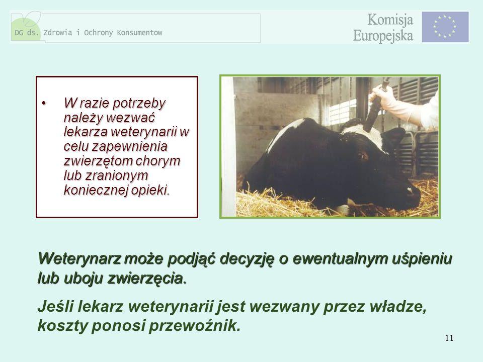 W razie potrzeby należy wezwać lekarza weterynarii w celu zapewnienia zwierzętom chorym lub zranionym koniecznej opieki.