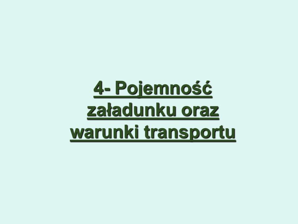 4- Pojemność załadunku oraz warunki transportu