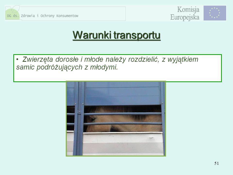 Warunki transportu Zwierzęta dorosłe i młode należy rozdzielić, z wyjątkiem samic podróżujących z młodymi.