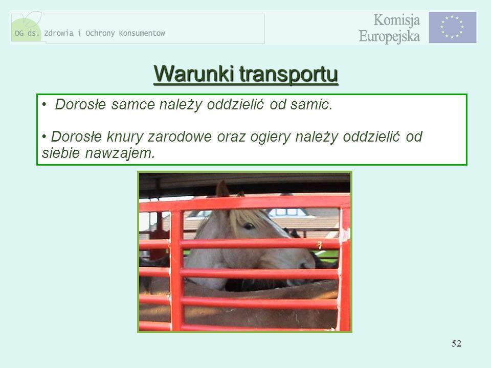 Warunki transportu Dorosłe samce należy oddzielić od samic.
