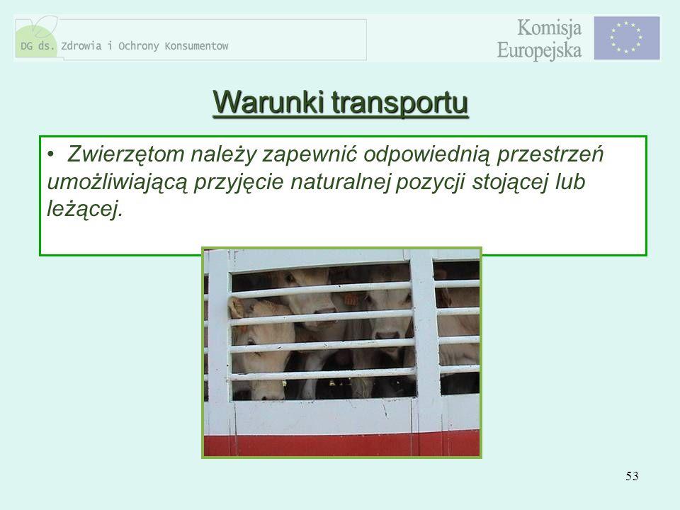Warunki transportuZwierzętom należy zapewnić odpowiednią przestrzeń umożliwiającą przyjęcie naturalnej pozycji stojącej lub leżącej.