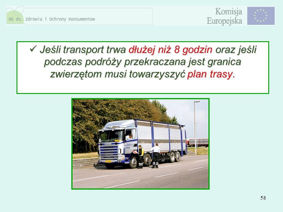 Jeśli transport trwa dłużej niż 8 godzin oraz jeśli podczas podróży przekraczana jest granica zwierzętom musi towarzyszyć plan trasy.